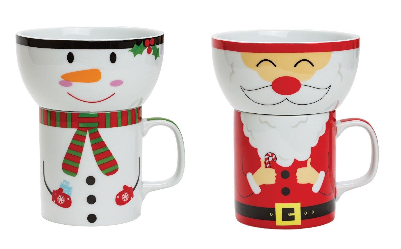Motiv Hungry Heroes Santa Claus /& Frosty Snowman Suki Gifts Kinder-Fr/ühst/ücksset mit Tasse und Sch/üssel