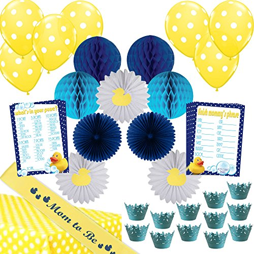"45 Piece ""Little Quack"" Baby Shower Decoration Kit for Boys (Hosts 12) Blue - Turquoise - Yellow Rubber Duck Theme by Stork (Duck Baby Shower Decorations)"