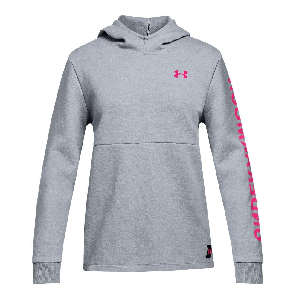 Under Armour Girls Double Knit Hoodie, Steel Light Heather (035)/Penta Pink, Youth Small