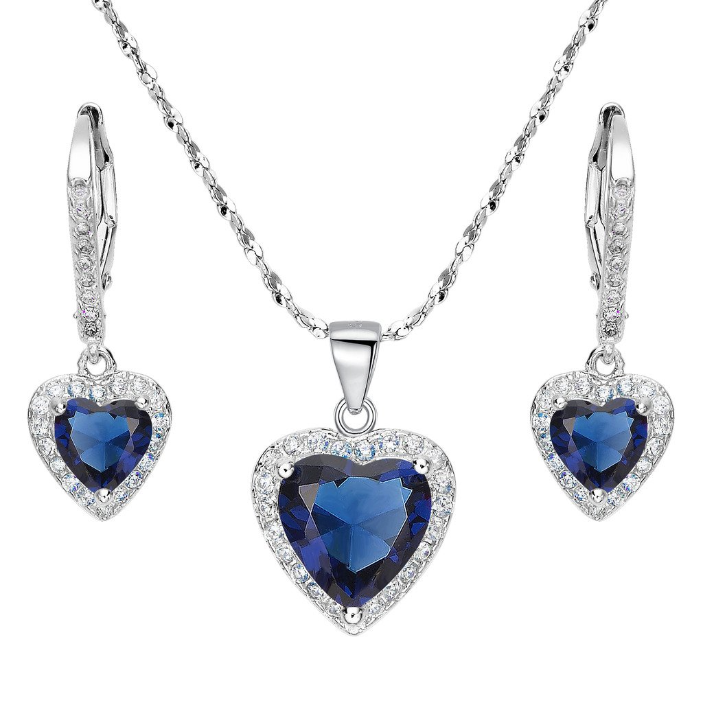 EleQueen 925 Sterling Silver Cubic Zirconia Love Heart Bridal Pendant Necklace Leverback Earrings Set Sapphire Color by EleQueen (Image #1)