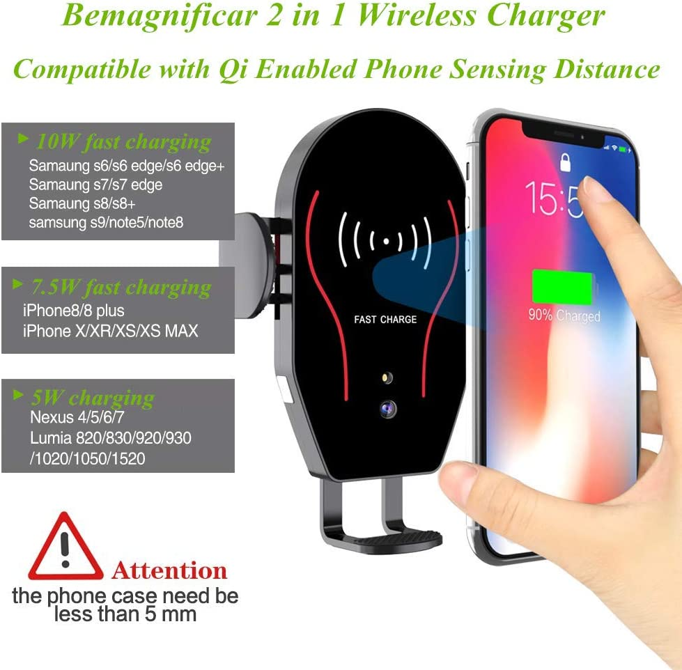 6 5S 4 Car Phone Holder,Gravity Phone Mount Compatible with Samsung S10 9 8 7 6 5 4 LG Huawei,Black GZJ for iPhone Xs XS Max XR X 8 8 7 7 SE 6S 6