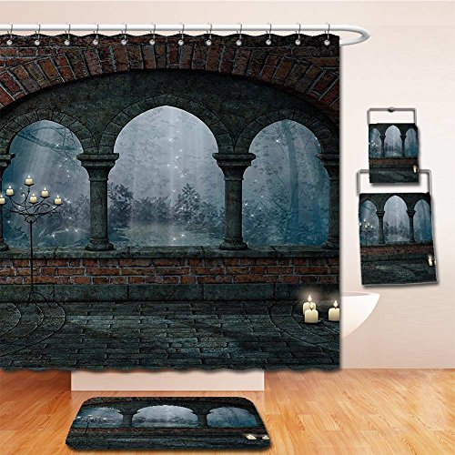 Beshowereb Bath Suit: Showercurtain Bathrug Bathtowel Handtowel Gothic Decor Medieval Castle at Night with Old Arch and Candles Middle Age Misty Image Blue Grey - Outlets At Rock Castle