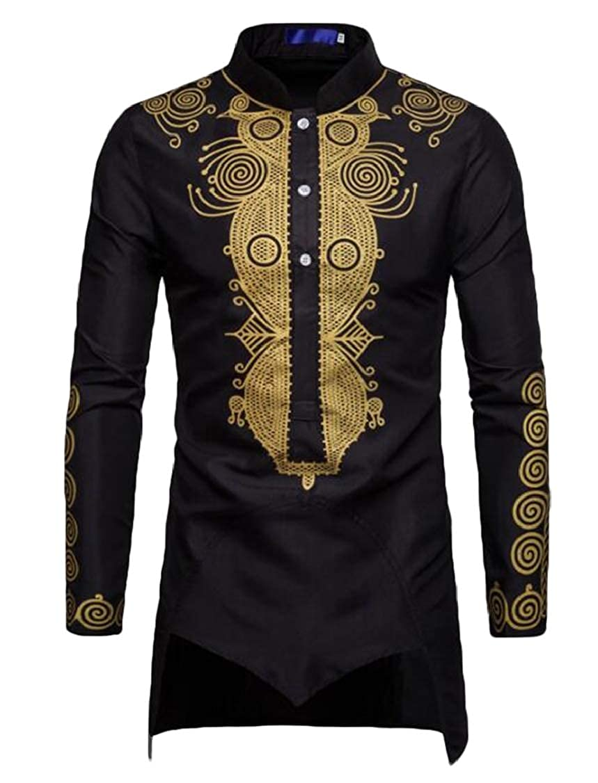 S-Fly Mens Stand Collar African Fribal Print Mid Long Casual Dress Shirts