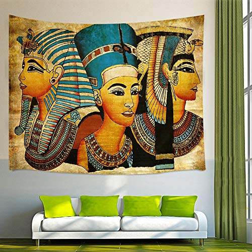NYMB 3D Digital Printing Egyptian Queen King Prince on Papyrus