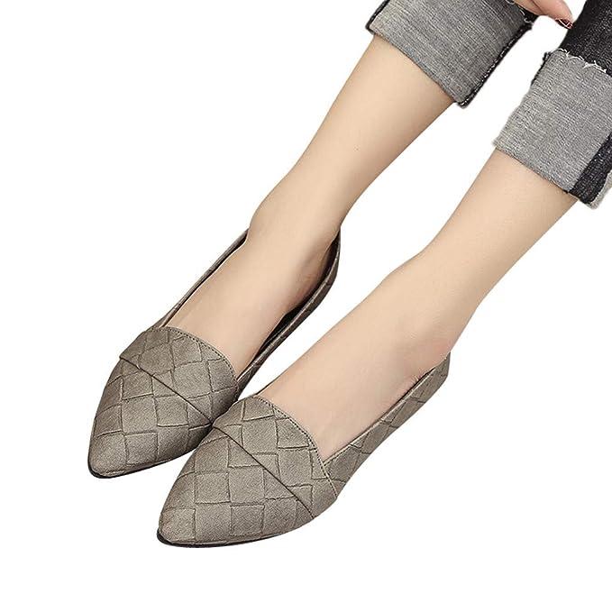 Bestow Parte Inferior Plana de la Parte Plana Zapatos Puntiagudos Planos Bajos tacón bajo a Cuadros Zapatos de Mujer Zapatos de tacón bajo Solo: Amazon.es: ...