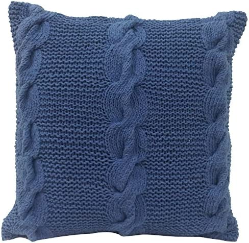 A B Home, Navy, 18-Inch Cable Knit Throw Pillow