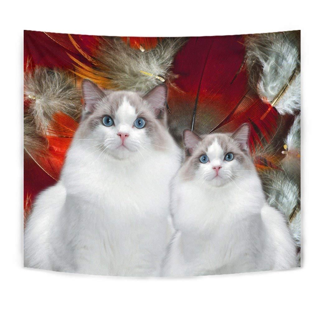 Cute Ragdoll Cat Print Tapestry by Paws With Attitude