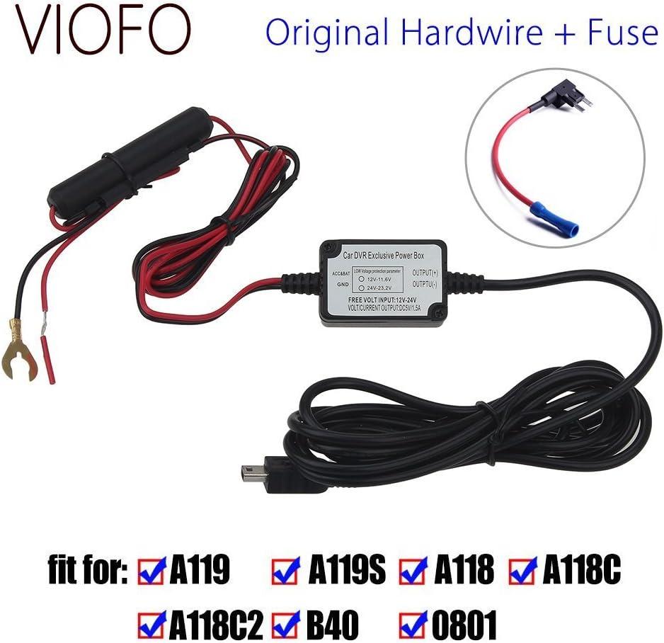 VIOFO Original Car Dash Camera Hardwire Fuse Kit Compatible VIOFO A119 A119S A118 A118C A118C2 Mini DVR Recorder