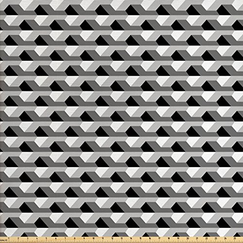 Lunarable Contemporary Fabric by the Yard, Abstract Architecture Inspired Geometric Pattern Modern Design, Decorative Fabric for Upholstery and Home Accents, Grey Charcoal Grey White - Modern Contemporary Upholstery Fabric