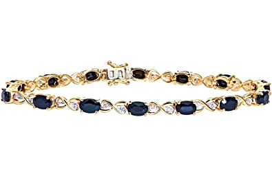 Naava Women's 9 ct Yellow Gold Sapphire and Diamond Kiss Bracelet of 18.4 cm Ra8ATJ