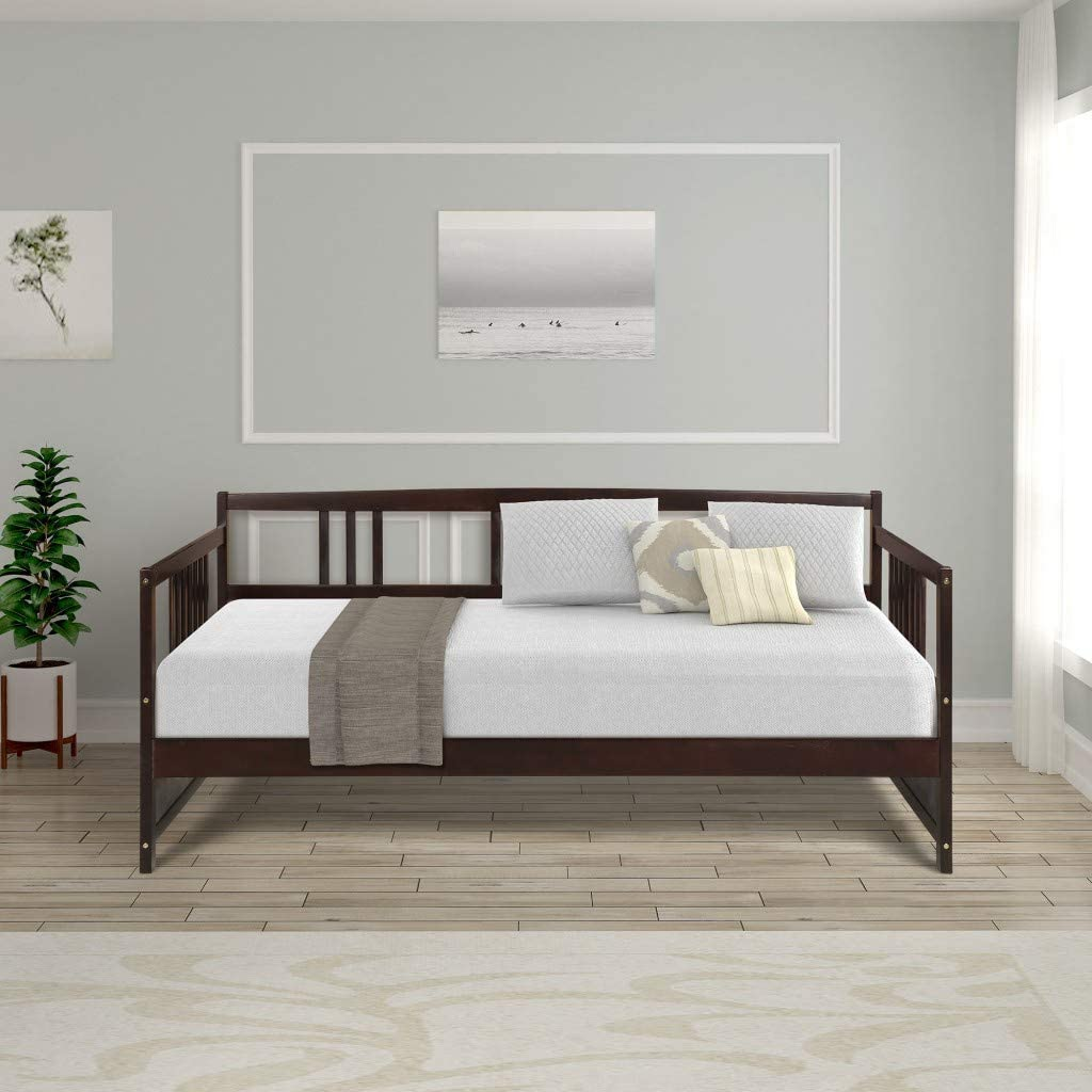 Hooseng Wood Daybed Frame with Rails,Wooden Slats Support Modern Twin Size Espresso