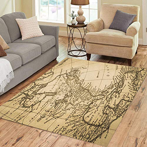 18th Century Rugs - Semtomn Area Rug 3' X 5' 1775 American Old Map Production 18Th Century America Continent Home Decor Floor Rugs