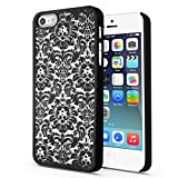 TNP iPhone SE / 5S / 5 Case (Damask Black) - Ultra Slim Fit Rubber Coating Hard Plastic Protective Back Carrying Case Cover Skin for Apple iPhone SE and iPhone 5 / 5s