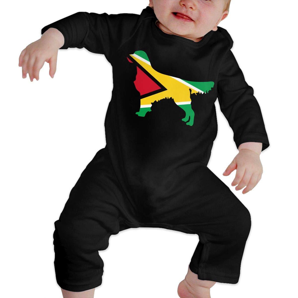 Guyana Flag Golden Retriever Dogs Toddler Baby Long Sleeve Romper Jumpsuit Infant Romper Jumpsuit