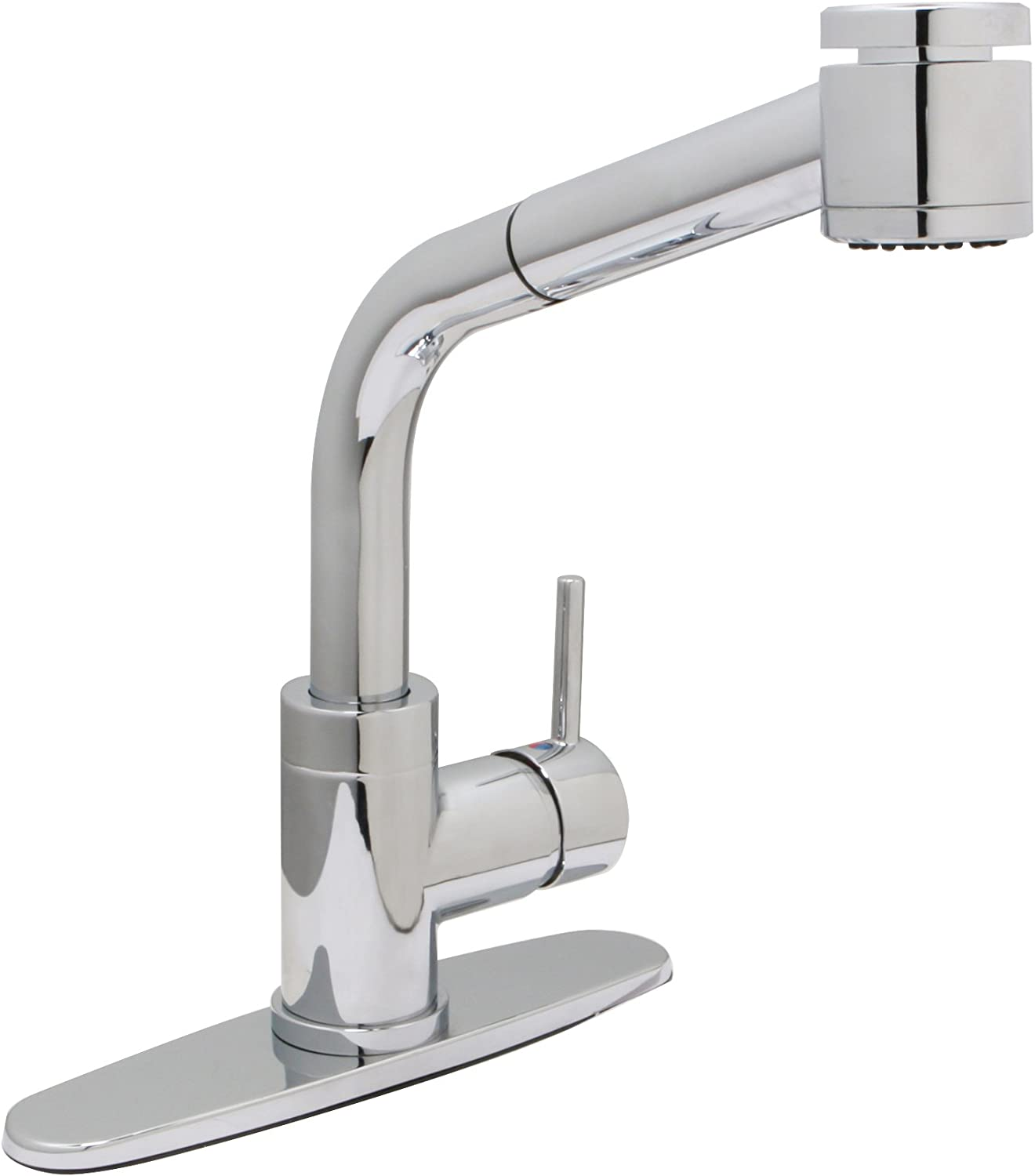 Huntington Brass 51151-01 Single-Handle High Arc Modern Pull-Out Kitchen Faucet with Sprayer and Optional Deck Plate, Chrome