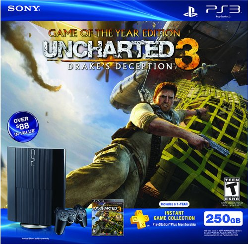 (PS3 250 GB Uncharted 3 and PS Plus Bundle)
