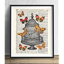 Vintage Cage With Butterflies Dictionary Art Print 8x10