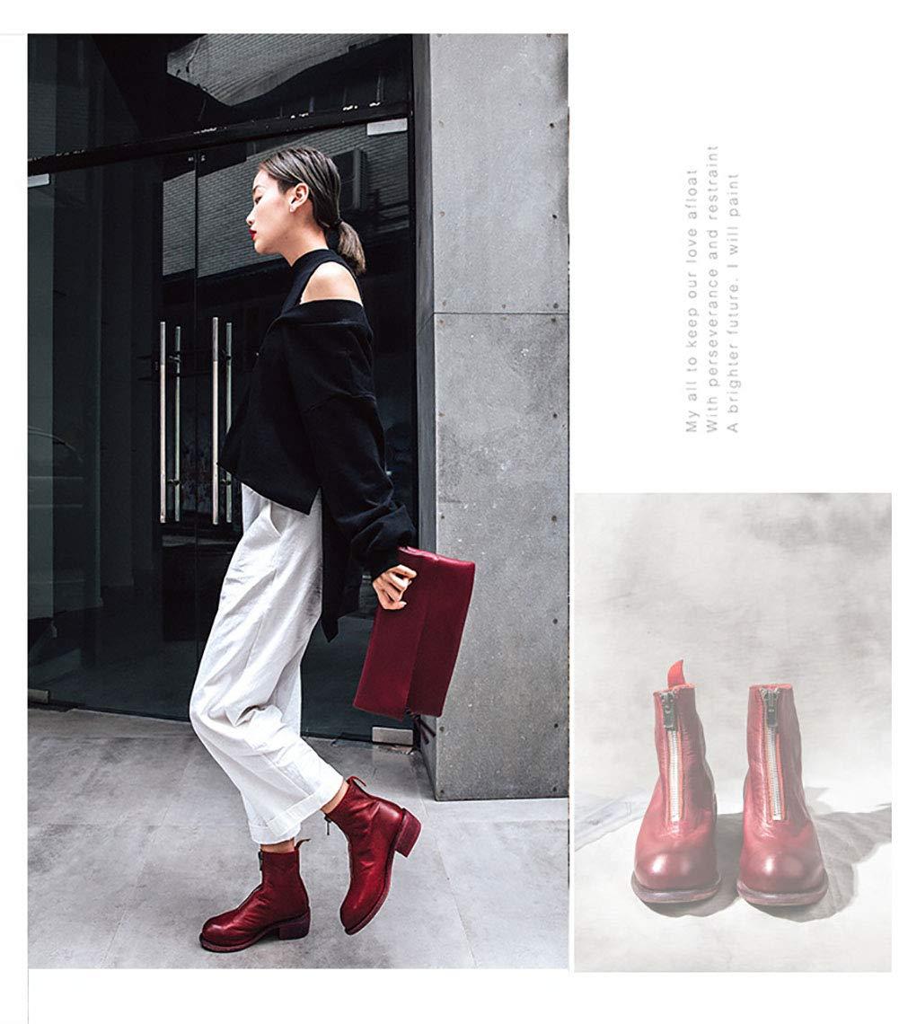 Damen Leder Front Reißverschluss Stiefelies Innen Innen Innen Und Außen Weiche Leder-Umgedrehte Stiefel 2018 Herbst Winter Punk Style,rot1,37 883c94