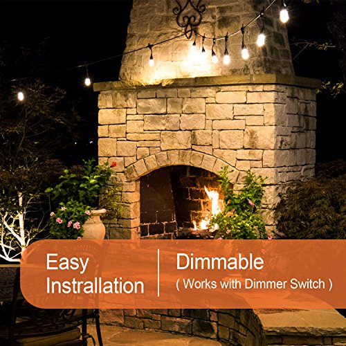 Amico 2 Pack 52FT Outdoor String Lights: Commercial Grade Weatherproof Yard Lights, 11W Dimmable Incandescent Bulbs, UL Listed Heavy-Duty Decorative Patio Bistro Market Café Lights by Amico (Image #4)