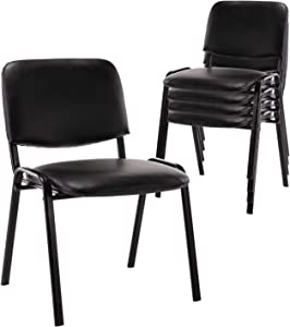 Set of 5 Stackable Chairs, Vinyl Leather Stackable Guest Chairs with Metal Frames, for Office, Reception Area, Hotel, Conference Room, Seminars, Training Room, Community Centers and Home, Black