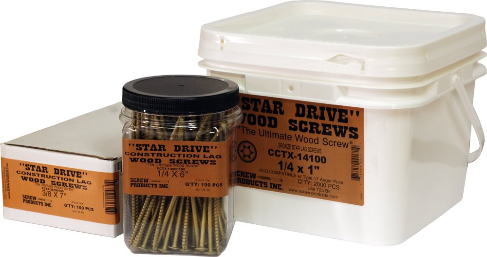Screw Products, Inc. CCTX-14600 1/4 X 6'' Bronze Star Exterior Construction Lag Screws by Screw Products, Inc.
