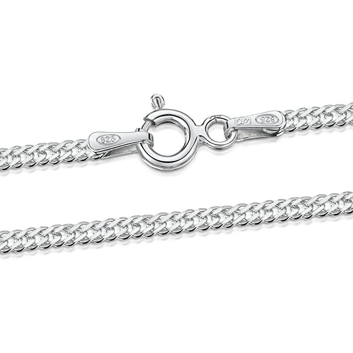 Amberta 925 Sterling Silver 2 mm Rhombus Curb Chain Necklace 16