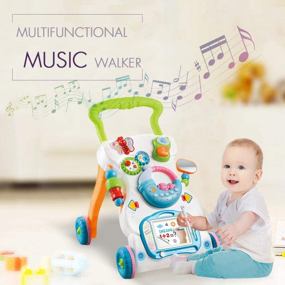 AMOYER Multifunctional Baby Walkers Trolley Push It Along the Floor Sit Play Musical Walker to Adjustable Speed and Anti-Rollover Baby Buggy Toy of Body Music Walkers