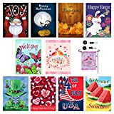 Seasonal Garden Flag Set of 10 Outdoors -12 x 18 inch | All Seasons & Holidays - Free 2 stoppers & 2 Rubber Anti-Wind Clips. Bright Yard Flags, Double Sided Designs, 3X Layers Premium Material