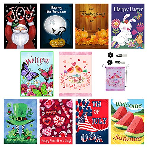 Seasonal Garden Flag Set of 10 Outdoors -12 x 18 inch | All Seasons & Holidays – Free 2 stoppers & 2 Rubber Anti-Wind Clips. Bright Yard Flags, Double Sided Designs, 3X Layers Premium Material For Sale