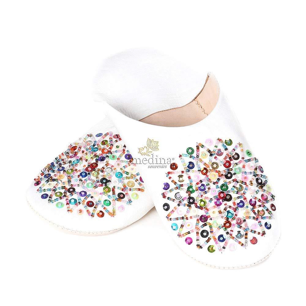Zapatilla Blanca Essaouira Marruecos Zapatillas Cuero Zapatillas Cosidas Mocasines Mujer Mano Deslizadores cómodos - 37: Amazon.es: Zapatos y complementos