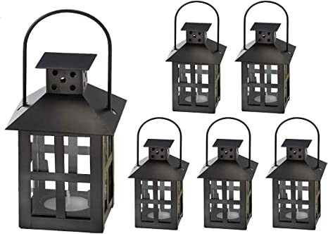 Amazon Com Kate Aspen Mini Decorative Candle Lanterns Set Of 6 Vintage Distressed Metal Lantern Candle Holders For Wedding Centerpiece Home Decor And Party Favor Black Home Kitchen