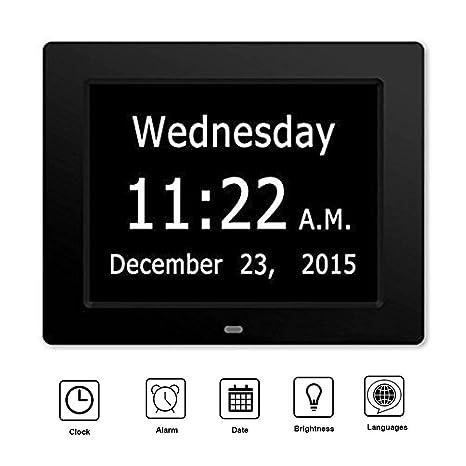 shix reloj digital calendario negro con 8 idiomas para Seniors Alzheimer