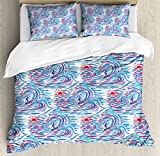 Hawaii Queen Size Duvet Cover Set by Ambesonne, He?e nalu Surf Themed Colorful Abstract Brush Stroke Aquarelle Effect Summer Season, Decorative 3 Piece Bedding Set with 2 Pillow Shams, Multicolor