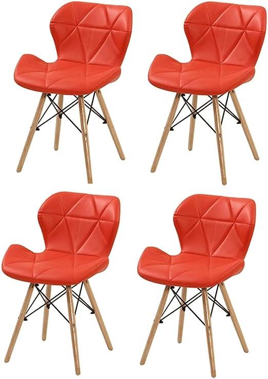 ZCXBHD Pack De 4 PU Retro Comedor Silla, Eiffel Inspirado Silla Oficina Silla Lounge, Mariposa Tipo Respaldo Silla De Comedor para Office Lounge Comedor Cocina (Color : Rojo): Amazon.es: Hogar