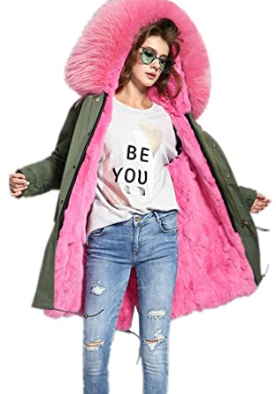 122c2d3a8eb4 Melody Women s Army Green Large Raccoon Fur Collar Hooded Long Coat Parkas  Outwear Rabbit Fur Lining