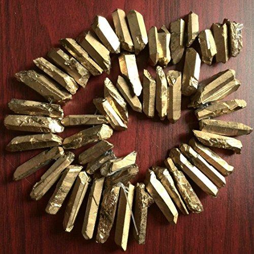 Rough Titanium Crystal Points, Quartz Sticks, Spikes, Golden Rainbow Metalic Quartz Beads, Gold Crystal Daggers, Quartz Spike Beads 15 inches Strand