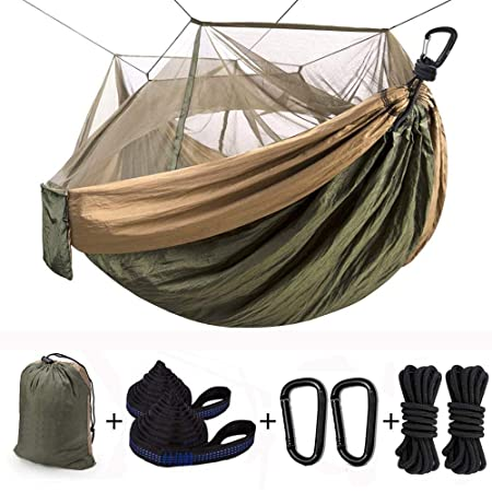 Julujiao Tech Camping Hammock with Mosquito Net Single Hanging Hammock, Lightweight Portable Parachute Hammock with 10ft Hammock Tree Straps, Carabiners for Camping,Hiking,Backpacking