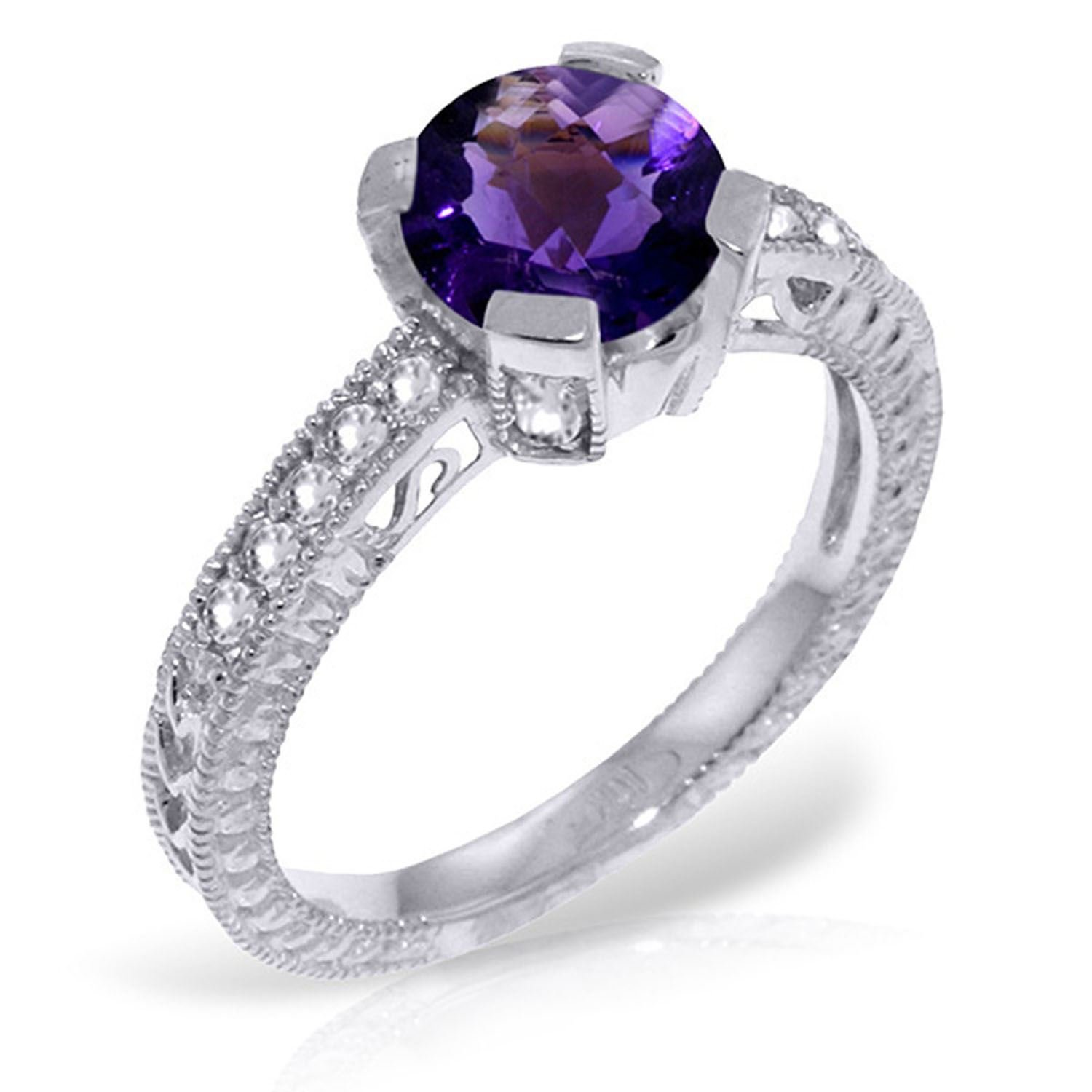ALARRI 1.8 Carat 14K Solid White Gold Gesture Of Love Amethyst Diamond Ring Ring Size 7.5