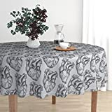 Roostery Round Tablecloth - Heart Anatomical Science Biology Medical Gray Black by Beththompsonart - Cotton Sateen Tablecloth 70in