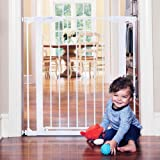 """Toddleroo by North States 37.5"""" Wide Tall Bright Choice Baby Gate: Heavy Duty Metal gate with Glow in The Dark Handle. Pressure Mount. Fits 29.75""""-37.5"""" Wide (36"""" Tall, White)"""