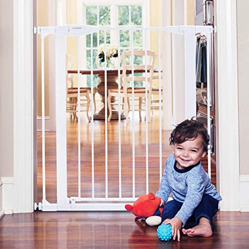 Toddleroo by North States 37.5 Wide Tall Bright Choice Baby Gate Heavy Duty Metal gate with Glow in The Dark Handle. Pressure Mount. Fits 29.75 -37.5 Wide 36 Tall, White