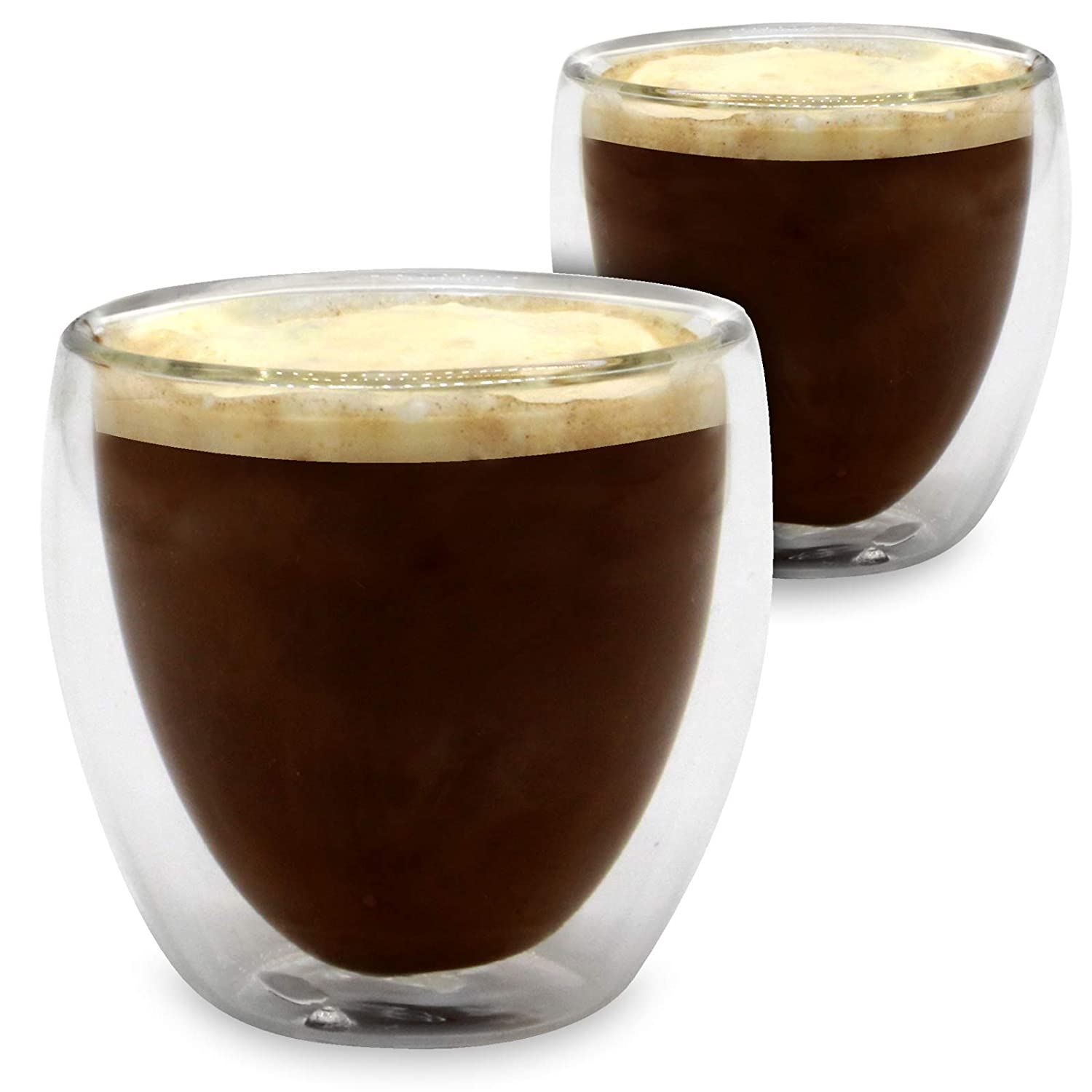 Double Walled Insulated Glass Mugs | Heat Resistant Thermal Coffee Cup | For Hot & Cold Drinks | Coffee, Tea, Espresso, Cappuccino, Latte | M&W Set of 2 - 80ml Xbite