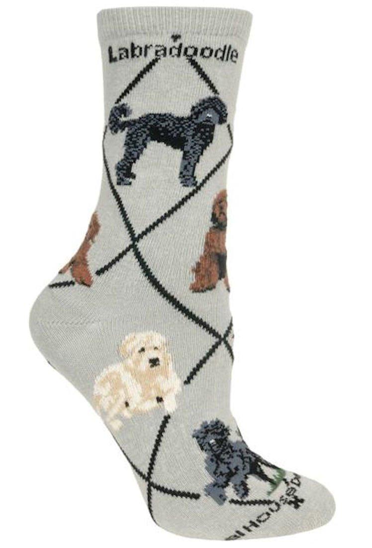 Labradoodle Dog Gray Cotton Ladies Socks Wheel House Designs PH848