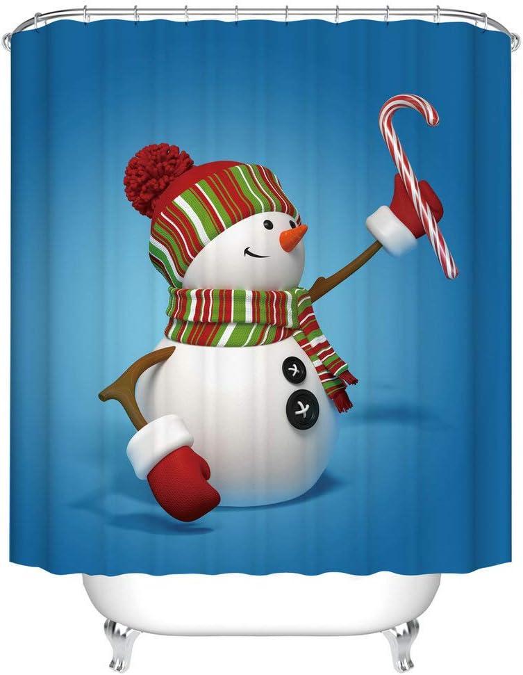 Fangkun Winter Merry Christmas Happy Shower Curtain - Polyester Fabric Snowman Pattern Bath Curtains Decor Set - 12PCS Shower Hooks - 72 x 72 inches