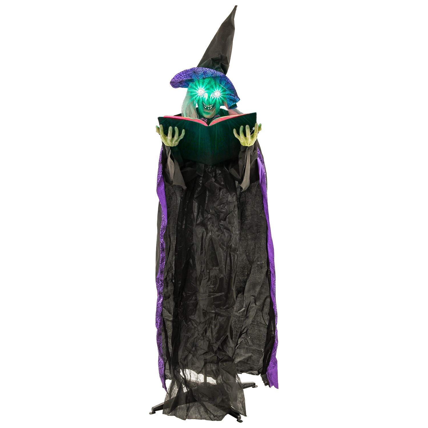 Halloween Haunters 6 Foot Animated Standing Wicked Witch with Spell Casting Book Prop Decoration - Black and Purple Hat, Speaks, Cackles, Flashing Green LED Eyes, Witches Brew