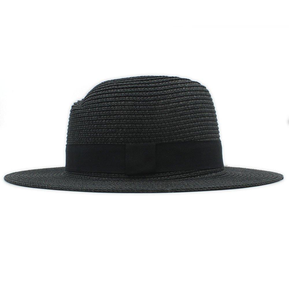 Shuo lan hu wai New Berretto da Spiaggia Fashion Summer cap Elegante Big Wide Brim Cappello Panama Queen Fedora Cappello da Spiaggia con Bowknot (Colore : Bianca, Dimensione : 56-58CM)