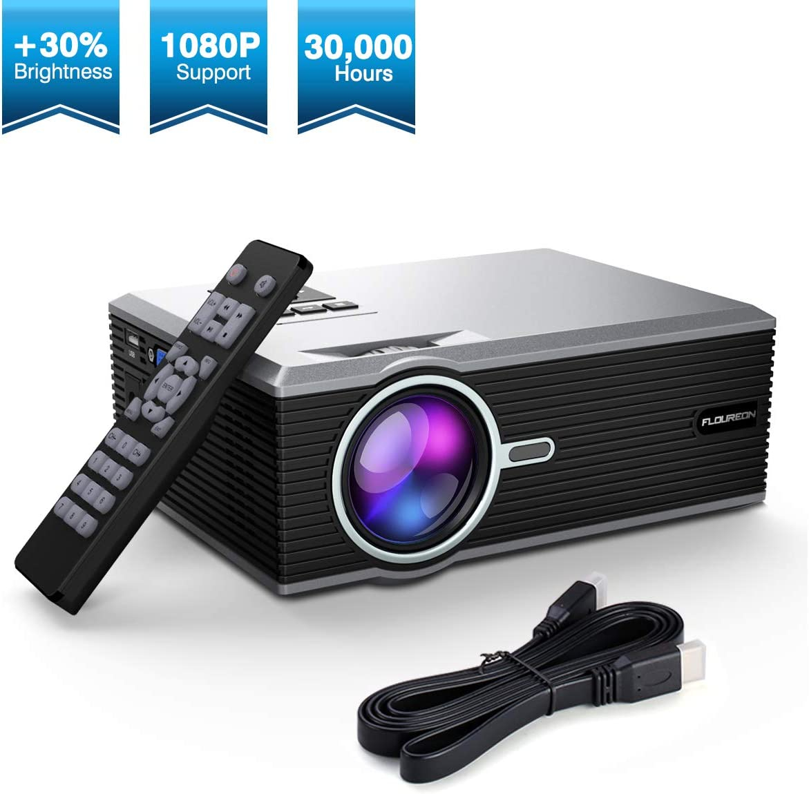 Proyector, FLOUREON 1080P Mini Proyector, Portable Home Cinema HD ...