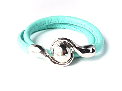 c25e31d5b Tiffany Blue Double Wrap Leather Bracelet With Silver Magnetic Galaxy  Clasp: Amazon.co.uk: Jewellery