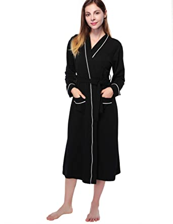 fa74238d7538 Womens Cotton Long Robe Kimono Spa Knit Bathrobe Lightweight Lounge wear