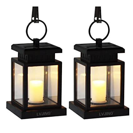 LVJING Solar Lights Outdoor Hanging Lantern 2 Pack, Solar Charged Led Lights  For Garden Patio